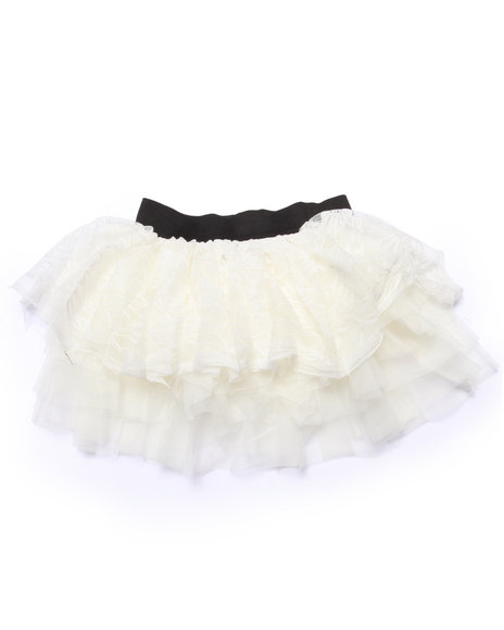 She's Cool - Girls Ivory Lace/Tulle Tiered Ruffle Skirt (4-6X)