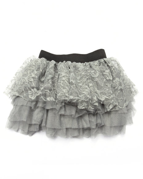 She's Cool - Girls Grey Lace/Tulle Tiered Ruffle Skirt (7-16)