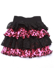 Bottoms - Lace/Sateen Animal Print Tiered Skirt (7-16)