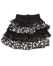 Bottoms - Lace/Sateen Butterfly Print Tiered Skirt (7-16)