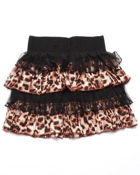 Shes Cool Girls LaceSateen Animal Print Tiered Skirt (46X) Animal Print 5