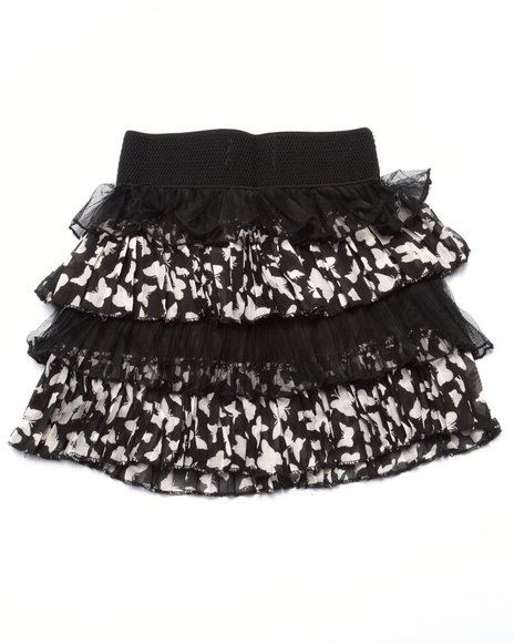 She's Cool - Girls Black,Wheat Lace/Sateen Butterfly Print Tiered Skirt (4-6X)