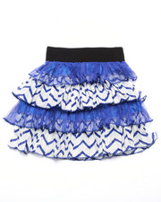Bottoms - Lace/Sateen Chevron Print Tiered Skirt (7-16)