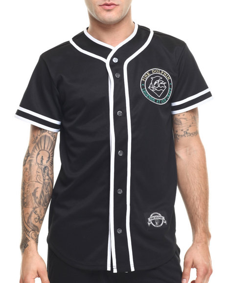Ur-ID 219214 Pink Dolphin - Men Black Gradient Seal S/S Baseball Jersey
