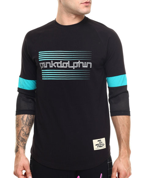 Pink Dolphin - Men Black Speed Script Raglan