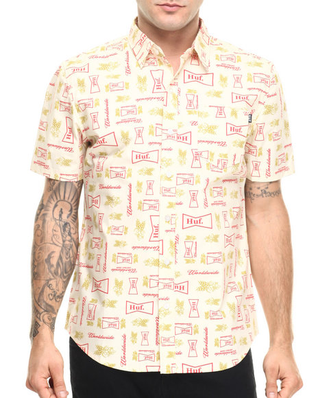 Huf Men Drink Up S/S Woven Cream X-Large
