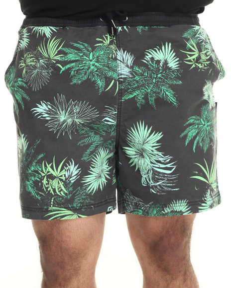 Insight - Men Black Jungle Beach Shorts