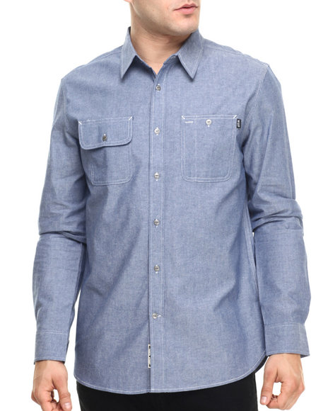 Ur-ID 219212 HUF - Men Blue Chambray Work Shirt