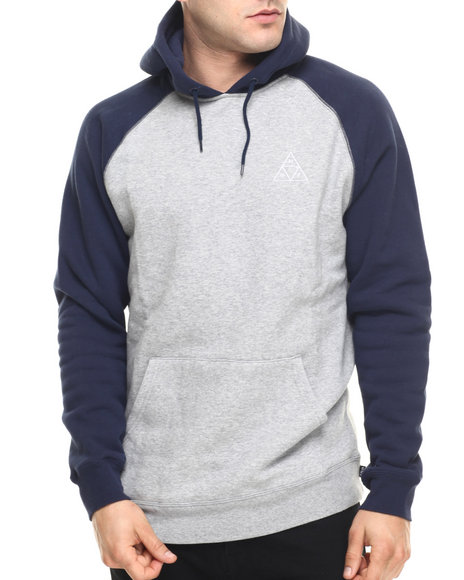 Ur-ID 219216 HUF - Men Grey,Navy Triple Triangle Raglan Pullover Hoodie