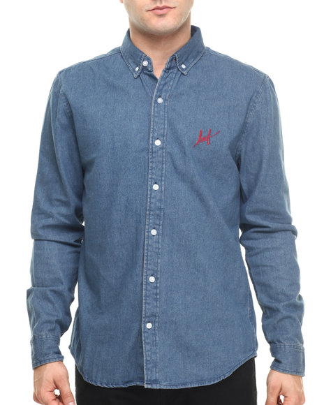 Ur-ID 219222 HUF - Men Blue Script Denim Overshirt
