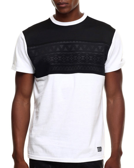 Ur-ID 219230 Buyers Picks - Men White Aztec Perf Faux Leather Trim S/S Tee