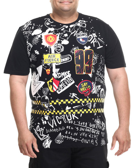 Ur-ID 219228 Akademiks - Men Black Grand Scribble Print S/S Tee (B&T)