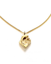 Men - WAVES 24K GOLD - PLATED 28 - INCH -CHAIN PENDANT