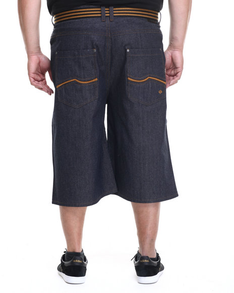 Enyce - Men Brown,Dark Indigo New Tradition Raw Belted Shorts (B&T) - $34.99