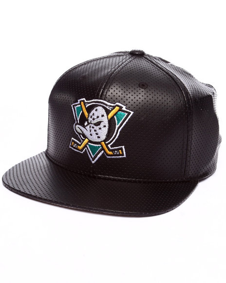 American Needle Men Anaheim Ducks Delirious Faux Perf Leather Snapback Black