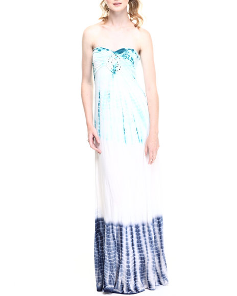 Fashion Lab - Women Dark Blue Double Column Tye Dye Cami Maxi Dress W/ Shirred Crochet Medallion Bust Applique