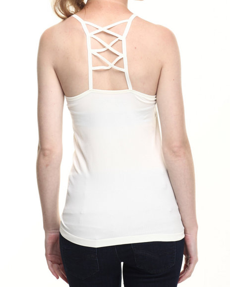 Ur-ID 219313 Fashion Lab - Women Cream Seamless Caged Racerback Cami