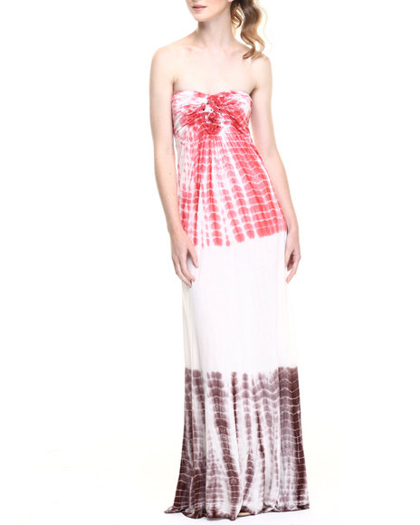 Fashion Lab - Women Coral Double Column Tye Dye Cami Maxi Dress W/ Shirred Crochet Medallion Bust Applique
