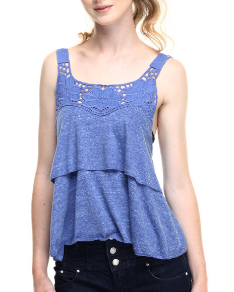 Ur-ID 219320 Fashion Lab - Women Blue Double Layered Lace Strap Tank