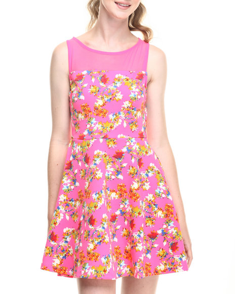 Ur-ID 219323 Fashion Lab - Women Pink Floral Burst Dress