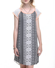 Women - Print Woven Top Hi Lo Hem Dress