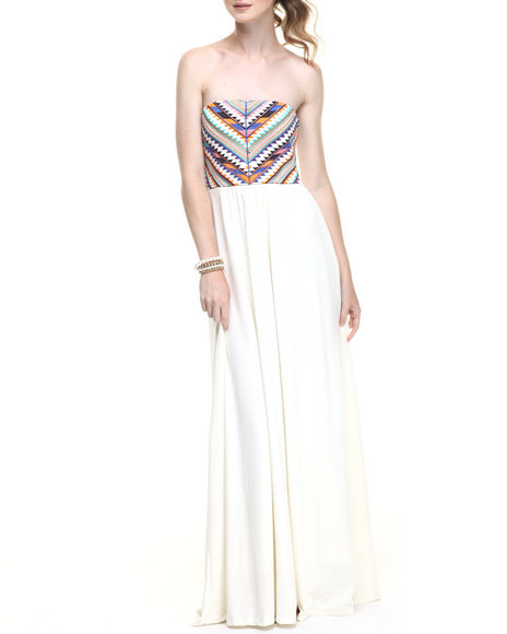 Fashion Lab - Women Ivory Native Embroidered Bodice Maxi Dress