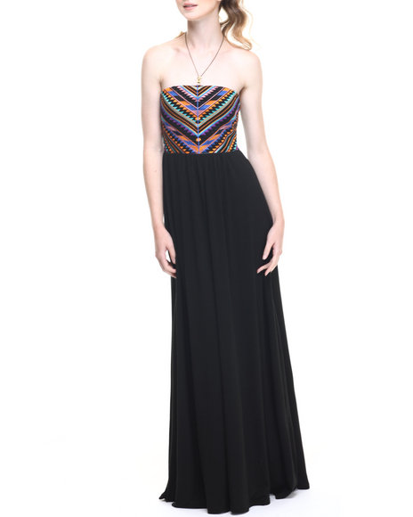 Ur-ID 219344 Fashion Lab - Women Black Native Embroidered Bodice Maxi Dress