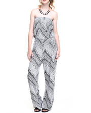 Women - Tribal Chevron Print Bandeau Jumpsuit