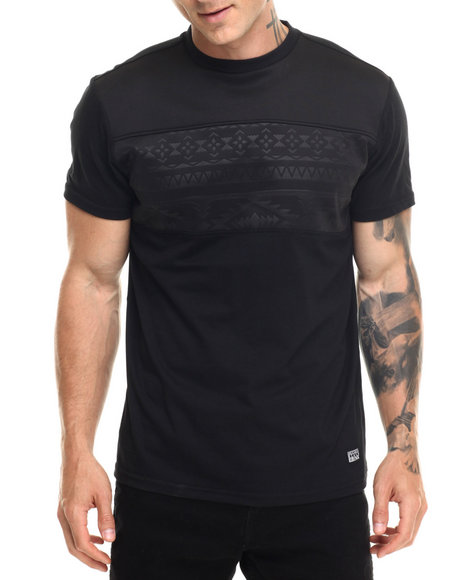 Buyers Picks - Men Black Aztec Perf Faux Leather Trim S/S Tee