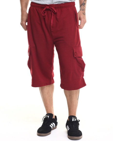 Ur-ID 219286 Buyers Picks - Men Maroon French Terry Cargo Shorts