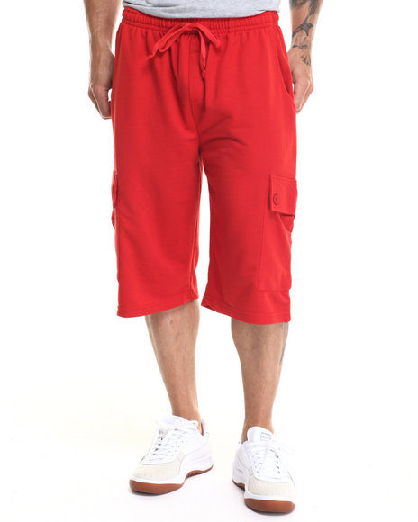 Buyers Picks - Men Red French Terry Cargo Shorts