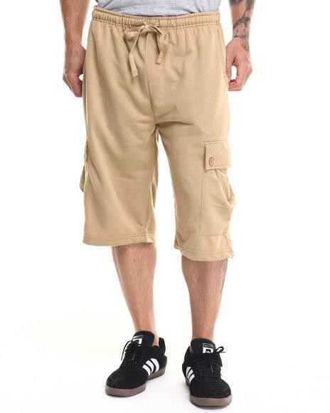 Ur-ID 219299 Buyers Picks - Men Khaki French Terry Cargo Shorts