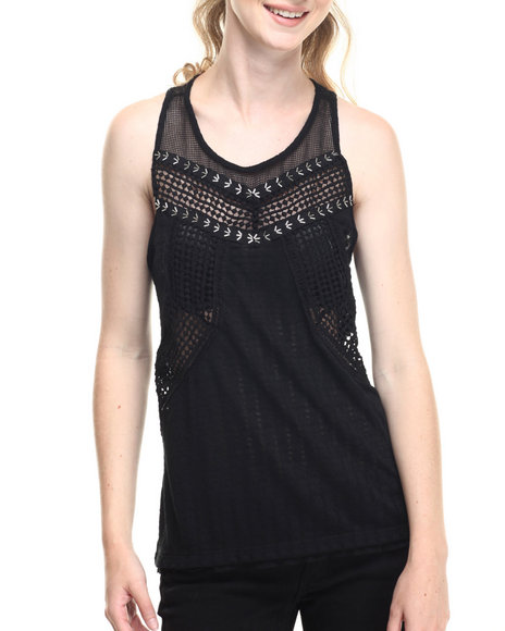 Fashion Lab - Women Black Vintage Beaded Detail Tank W/ Back Crochet