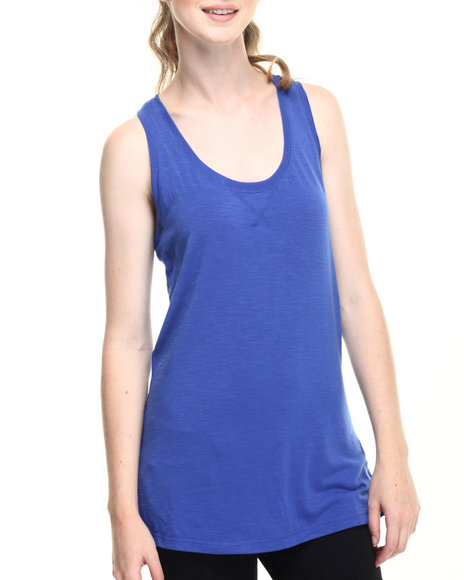 Ur-ID 219306 Fashion Lab - Women Blue Jersey Racerback V-Neck Tank