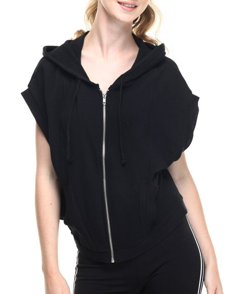 Fashion Lab - Women Black Cotton French Big Loop Terry Over Sized Armhole Zipper Front Hoodie - $16.99