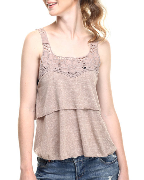 Ur-ID 219318 Fashion Lab - Women Tan Double Layered Lace Strap Tank