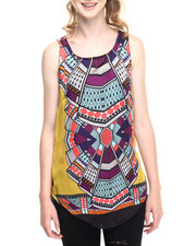 Fashion Lab - Tribal Print Woven Tank Top W/Keyhole Back
