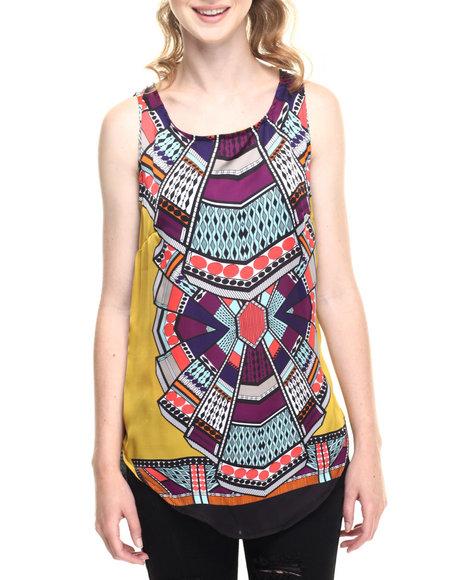 Ur-ID 219321 Fashion Lab - Women Multi Tribal Print Woven Tank Top W/Keyhole Back