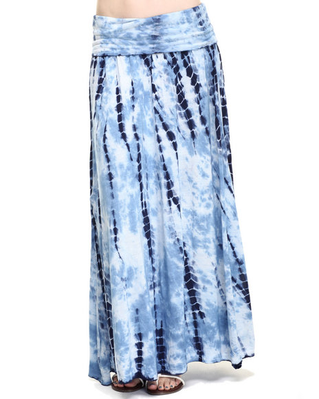 Ur-ID 219324 Fashion Lab - Women Navy Tye Dye Roll Over Waist Bank Maxi Skirt