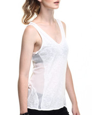 Fashion Lab - V-Neck Tank w/ Mesh Inset and Back/Side Detail