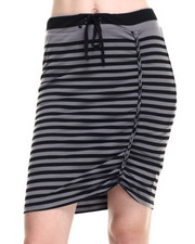 Skirts - Striped Skirt w/ Braided Shirred Side Detail