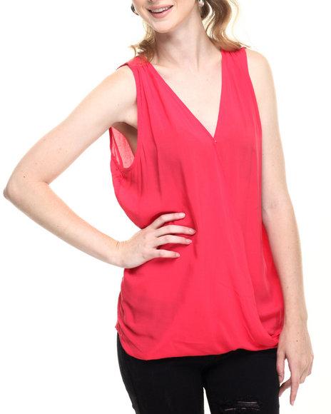 Ur-ID 219332 Fashion Lab - Women Pink Light Weight Woven Drape Front Hi Lo Hem Tank Top