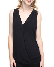 Fashion Lab - Light Weight Woven Drape Front Hi Lo Hem Tank Top