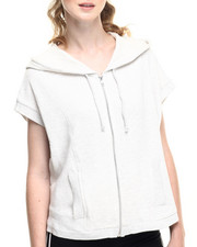 Tops - Cotton French Big Loop Terry Over Sized Armhole Zipper Front Hoodie