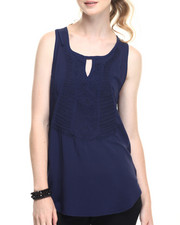 Fashion Lab - Open Cage Back Sleeveless Shirt w/ Front Embroidery