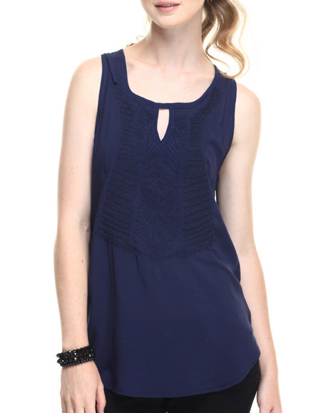 Ur-ID 219348 Fashion Lab - Women Navy Open Cage Back Sleeveless Shirt W/ Front Embroidery