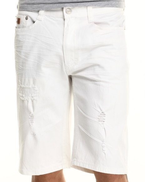 Ur-ID 219360 Winchester - Men White Baltimore Rip & Repair Twill Shorts