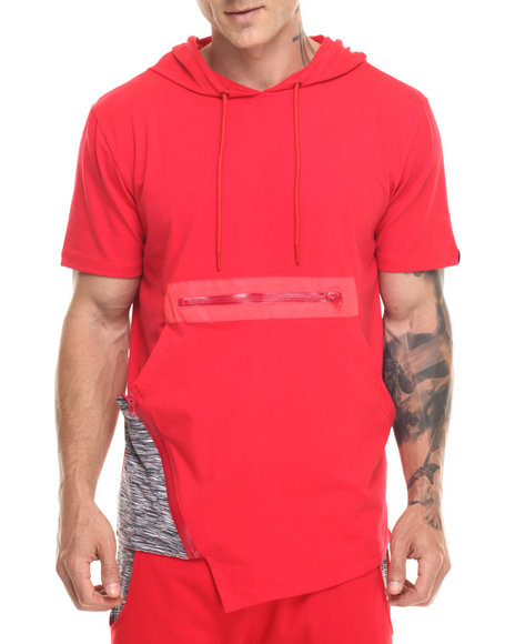 Hudson Nyc - Men Red Marble Knit S/S Hooded Tee