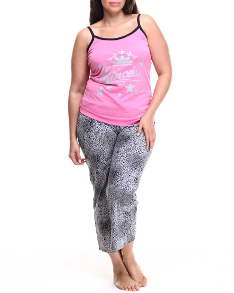Drj Lingerie Shoppe - Women Grey,Pink Wild Princess Animal Capri Set (Plus) - $12.99