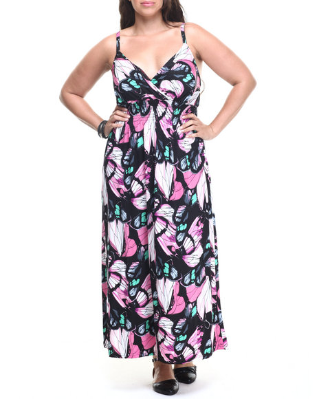 Ur-ID 218767 She's Cool - Women Multi Butterfly Print Surplice Dress (Plus)